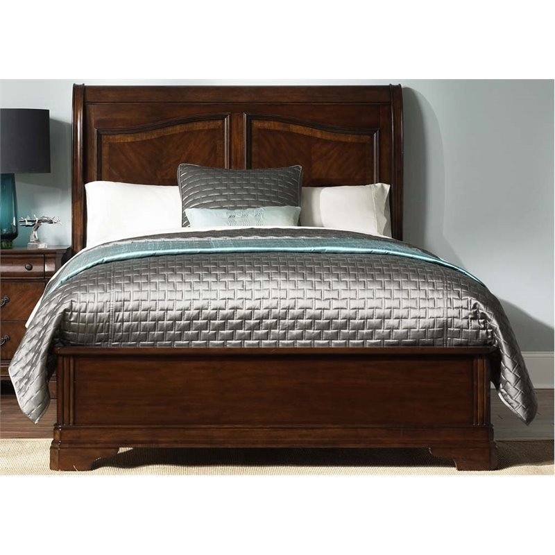 Liberty Furniture Alexandria King Sleigh Bed in Autumn Brown
