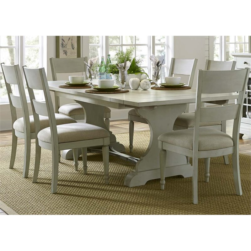 Liberty Furniture Harbor View III 7 Piece Trestle Dining Set in Gray