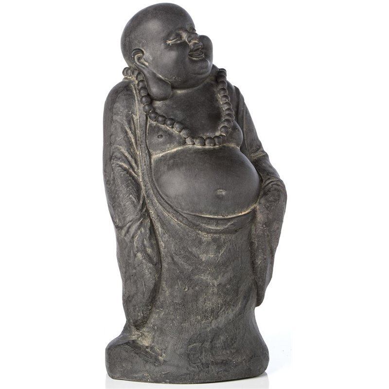 Alfresco Home Buddha with Belly Statue in Antique Dark Brown