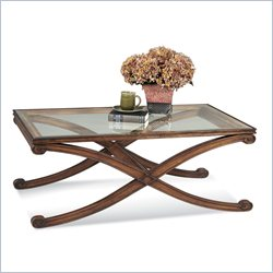 Bassett Mirror Wellington Rectangle Cocktail Table in Dark fruitwood