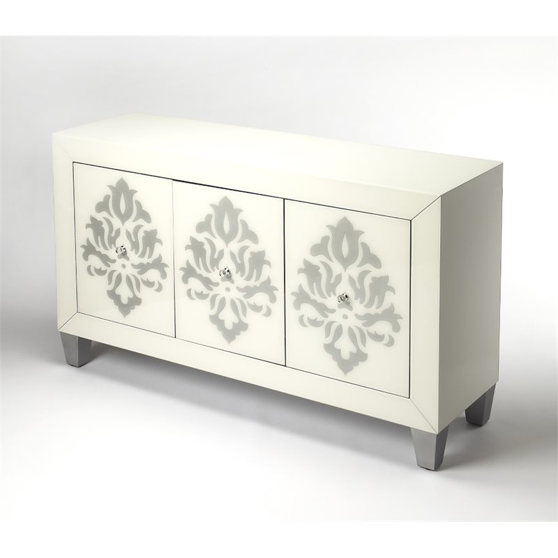 Butler Specialty Cosmopolitan Frosted Glass Sideboard in White