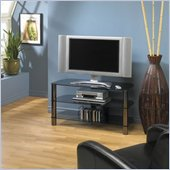 Tech-Craft Sorrento 41 Inch Tempered Smoked Glass TV Stand with Metal Posts