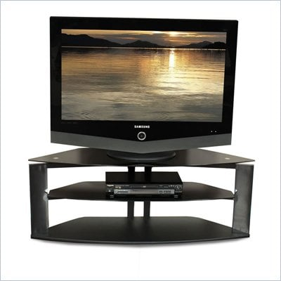 Tech-Craft Bernini Series 50 Inch Wide Corner TV Stand with Black Glass