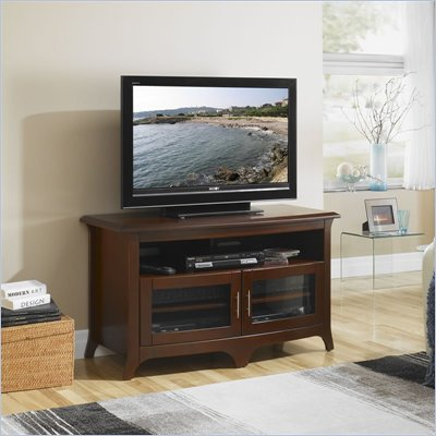Tech-Craft Hi-Boy 48&quot; Wide Curved Front TV Stand in Walnut Finish