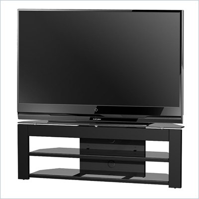 Tech-Craft Monaco 58 Inch Metal and Glass TV Stand in High-Gloss Black Finish