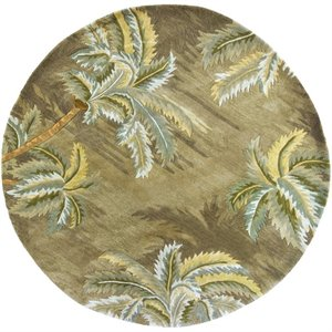 "KAS Sparta 7'6"" Round Hand-Tufted Wool Rug in Moss - SPA3..."