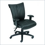 Boss Office Products Mid-Back LeatherPlus Chair w/Tilt Control in Black