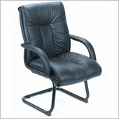 Boss Office Products Contemporary Black Italian Leather Guest Chair with Cantilever Base