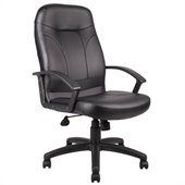 Boss Office Products Executive High Back Leather Chair in Black