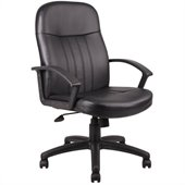 Boss Office Products Leather Contemporary Executive Chair in Black