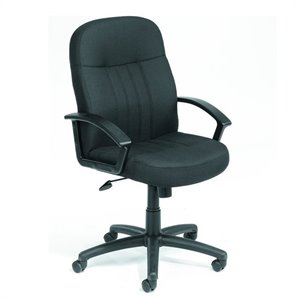 Boss Office Products Plastic Executive Office Chair with Arms in Black