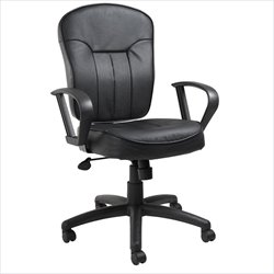 Boss Office Products Black Leather Task Chair with Loop Arms
