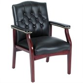 Boss Office Products Traditional Tufted Style Guest Chair with Wood Frame