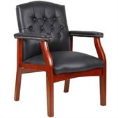Boss Office Products Traditional Tufted Style Italian Leather Guest Chair