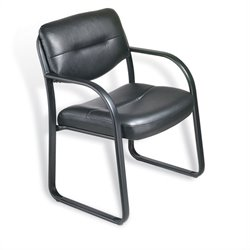 Boss Office Products Leather Guest Chair with Sled Base in Black