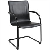 Boss Office Products Black on Black Vinyl Guest Chair with Cantilever Base (Set of 4)