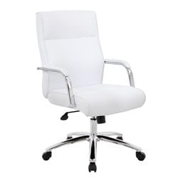 Boss Mid Century Mod Executive Conference Chair in White