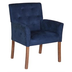 Boss Taylor Button-tufted Accent Chair in Blue Velvet