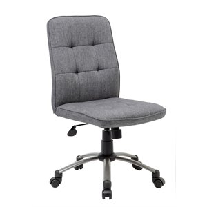 Boss Pretty Parsons Modern Armless Office Chair in Slate Gray