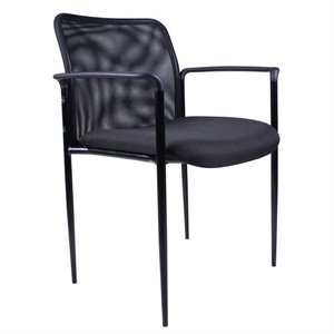 Boss Office Products Contemporary Stacking Guest Arm Stacking Guest Chair in Black