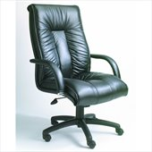 Boss Office Products Contemporary High-Back Black Italian Leather Office Chair with Knee Tilt