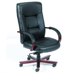 Boss Office Products Ergonomic High Back Executive Leather Office Chair with Knee Tilt