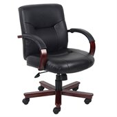 Boss Office Products High Back Executive Leather Chair with Knee Tilt