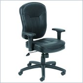 Boss Office Products Black Leather Task Chair with Wild Arms
