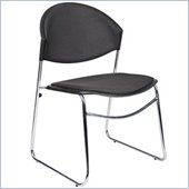 Boss Office Products Black Stack Chair with Chrome Frame (Set of 4)