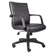Boss Office Products Mid Back Executive Chair in Leather Plus