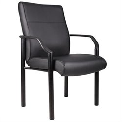Boss Office Products Metal 4 Leg Side Guest Chair in Leather Plus