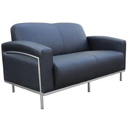 Boss Office Products Black Caressoft Plus Love Seat with Chrome Frame