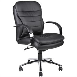 Boss Office Products Mid-Back Caressoft Plus Exec Office Chair with Chrome Base