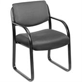 Boss Office Products Fabric Sled Base Guest Chair with Arms in Gray