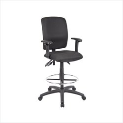 Boss Office Multi Function Fabric Drafting Stool with Adjustable Arms