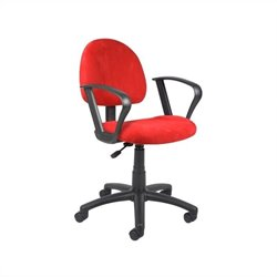 Boss Office Microfiber Deluxe Posture Office Chair with Loop Arms in Red