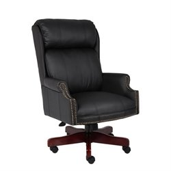 Boss Office Traditional High Back Office Chair with Mahogany Base