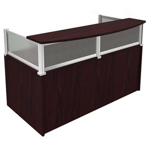 Boss Office Products Plexiglass Reception Desk in Mahogany