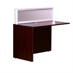 Boss Office Products Plexiglass Reception Return in Mahogany