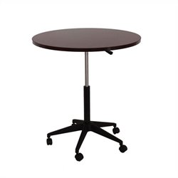 Boss Office Products 32 inch Mobile Round Table in Mahogany