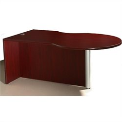 Boss Office Products Left Side P-Desk Shell in Mahogany