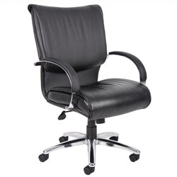 Boss Office Products Mid Back Leatherplus Executive Office Chair in Black