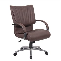 Boss Office Products Mid Back Bomber Leather Plus Office Chair in Brown