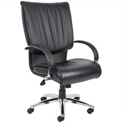 Boss Office Products High Back Leatherplus Executive Office Chair in Black