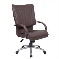 Boss Office Products High Back Bomber Leather Plus Office Chair in Brown