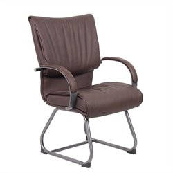 Boss Office Products Mid Back Bomber Brown Leather Plus Guest Chair