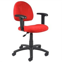 Boss Office Products Microfiber Deluxe Posture Office Chair in Red
