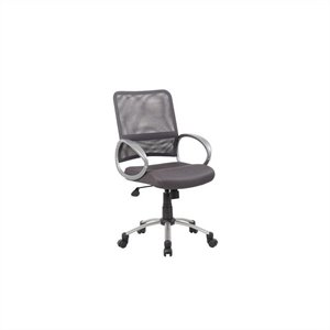 Boss Office Products Mesh Back with Pewter Task Office Chair in Grey