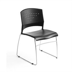 Boss Office Stacking Chrome Frame Office Stacking Chair in Black (Set of 4)