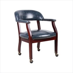Boss Office Captains Chair in Blue and Mahogany with Casters